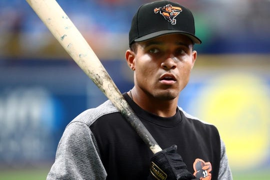 Jul 3, 2019; St. Petersburg, FL, USA; Baltimore Orioles shortstop Richie Martin (1) works out prior to the game against the Tampa Bay Rays at Tropicana Field. Mandatory Credit: Kim Klement-USA TODAY Sports