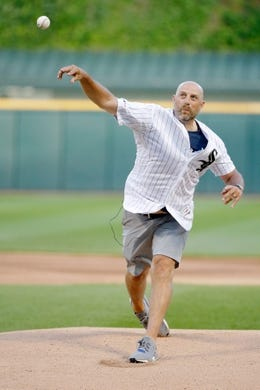 Jul 3, 2019; Chicago, IL, USA; Chicago Bears head coach Matt Nagy throws out a ceremonial first pitch before the game between the Chicago White Sox and the Detroit Tigers in game two of a baseball doubleheader at Guaranteed Rate Field. Mandatory Credit: Jon Durr-USA TODAY Sports