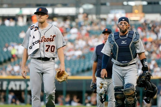 Jul 3, 2019; Chicago, IL, USA; Detroit Tigers starting pitcher Tyler Alexander (70) and catcher Bobby Wilson (37) walk to the dugout before the game against the Chicago White Sox in game two of a baseball doubleheader at Guaranteed Rate Field. Mandatory Credit: Jon Durr-USA TODAY Sports