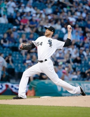 Jul 3, 2019; Chicago, IL, USA; Chicago White Sox starting pitcher Ross Detwiler (54) pitches against the Detroit Tigers during the first inning in game two of a baseball doubleheader at Guaranteed Rate Field. Mandatory Credit: Jon Durr-USA TODAY Sports