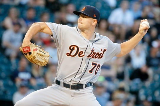 Jul 3, 2019; Chicago, IL, USA; Detroit Tigers starting pitcher Tyler Alexander (70) pitches against the Chicago White Sox during the first inning of his MLB debut in game two of a baseball doubleheader at Guaranteed Rate Field. Mandatory Credit: Jon Durr-USA TODAY Sports