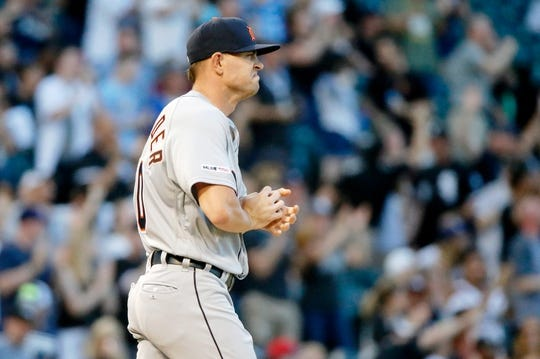 Jul 3, 2019; Chicago, IL, USA; Detroit Tigers starting pitcher Tyler Alexander (70) reacts after giving up a home run to Chicago White Sox third baseman Yoan Moncada (not pictured) during the first inning of his MLB debut in game two of a baseball doubleheader at Guaranteed Rate Field. Mandatory Credit: Jon Durr-USA TODAY Sports