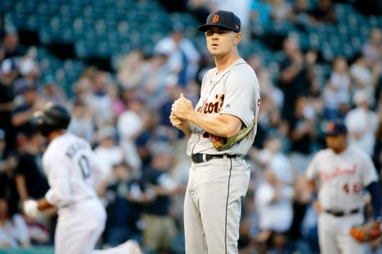 Jul 3, 2019; Chicago, IL, USA; Detroit Tigers starting pitcher Tyler Alexander (70) reacts after giving up a home run to Chicago White Sox third baseman Yoan Moncada (10) during the first inning of his MLB debut in game two of a baseball doubleheader at Guaranteed Rate Field. Mandatory Credit: Jon Durr-USA TODAY Sports
