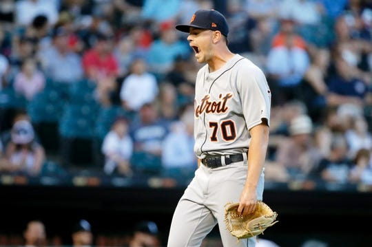 Jul 3, 2019; Chicago, IL, USA; Detroit Tigers starting pitcher Tyler Alexander (70) stretches his mouth after the first inning against the Chicago White Sox in game two of a baseball doubleheader at Guaranteed Rate Field. Mandatory Credit: Jon Durr-USA TODAY Sports