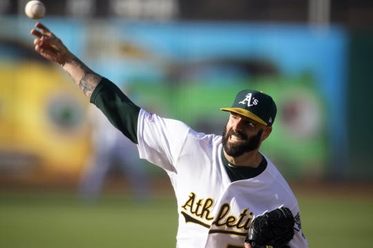 Jul 3, 2019; Oakland, CA, USA; Oakland Athletics starting pitcher Mike Fiers (50) delivers a pitch against the Minnesota Twins during the second inning at Oakland Coliseum. Mandatory Credit: D. Ross Cameron-USA TODAY Sports