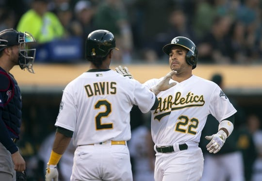Jul 3, 2019; Oakland, CA, USA; Oakland Athletics center fielder Ramon Laureano (22) celebrates with Khris Davis (2) after hitting a three-run home run during the second inning against the Minnesota Twins at Oakland Coliseum. Mandatory Credit: D. Ross Cameron-USA TODAY Sports