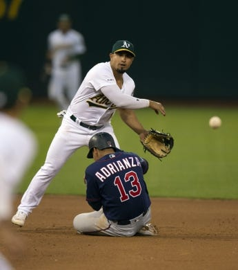 Jul 3, 2019; Oakland, CA, USA; Oakland Athletics second baseman Franklin Barreto (1) makes an errant throw to first over Minnesota Twins Ehire Adrianza (13) during the seventh inning of a baseball game at Oakland Coliseum. Adrianza was ruled safe on video review, and Jonathan Schoop was safe at first. Mandatory Credit: D. Ross Cameron-USA TODAY Sports