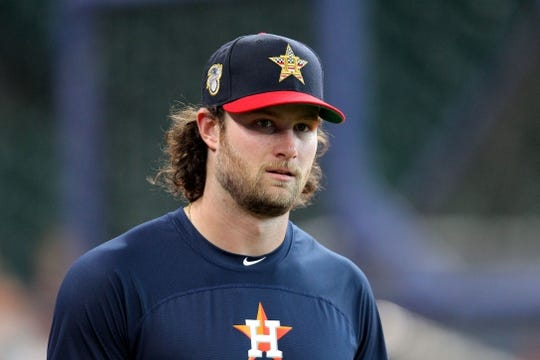 Jul 5, 2019; Houston, TX, USA; Houston Astros starting pitcher Gerrit Cole (45) prior to the game against the Los Angeles Angels at Minute Maid Park. Mandatory Credit: Erik Williams-USA TODAY Sports
