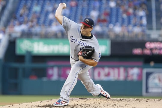 Jul 5, 2019; Washington, DC, USA; Kansas City Royals starting pitcher Brad Keller (56) pitches against the Washington Nationals in the second inning at Nationals Park. Mandatory Credit: Geoff Burke-USA TODAY Sports