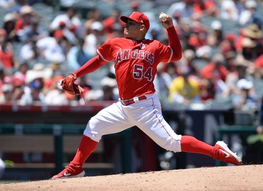 July 14, 2019; Anaheim, CA, USA; Los Angeles Angels starting pitcher Jose Suarez (54) throws against the Seattle Mariners during the second inning at Angel Stadium of Anaheim. Mandatory Credit: Gary A. Vasquez-USA TODAY Sports