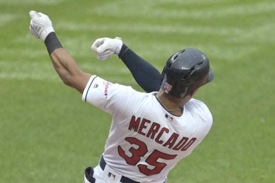 Jul 16, 2019; Cleveland, OH, USA; Cleveland Indians center fielder Oscar Mercado (35) follows through on his swing after losing his bat in the first inning against the Detroit Tigers at Progressive Field. Mandatory Credit: David Richard-USA TODAY Sports