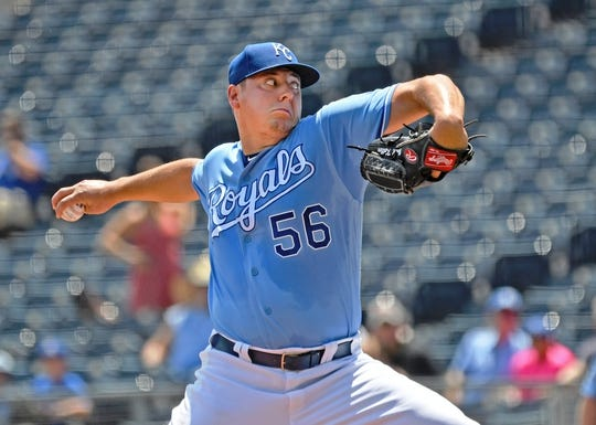 Jul 18, 2019; Kansas City, MO, USA; Kansas City Royals starting pitcher Brad Keller (56) delivers a pitch during the first inning against the Chicago White Sox at Kauffman Stadium. Mandatory Credit: Peter G. Aiken/USA TODAY Sports