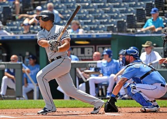 Jul 18, 2019; Kansas City, MO, USA; Chicago White Sox designated hitter Jose Abreu (79) singles during the first inning against the Kansas City Royals at Kauffman Stadium. Mandatory Credit: Peter G. Aiken/USA TODAY Sports