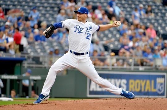 Jul 25, 2019; Kansas City, MO, USA; Kansas City Royals starting pitcher Mike Montgomery (21) delivers a pitch in the first inning against the Cleveland Indians at Kauffman Stadium. Mandatory Credit: Denny Medley-USA TODAY Sports