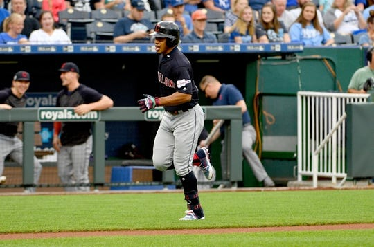 Jul 25, 2019; Kansas City, MO, USA; Cleveland Indians shortstop Francisco Lindor (12) runs toward home plate after hitting a solo home run on the first pitch of the game against the Kansas City Royals at Kauffman Stadium. Mandatory Credit: Denny Medley-USA TODAY Sports