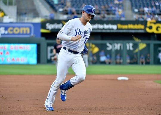 Jul 25, 2019; Kansas City, MO, USA; Kansas City Royals third baseman Hunter Dozier (17) runs the bases after hitting a two run home run in the first inning against the Cleveland Indians at Kauffman Stadium. Mandatory Credit: Denny Medley-USA TODAY Sports