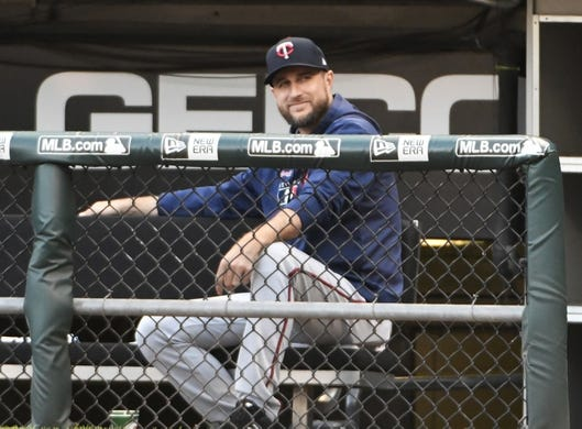 Jul 25, 2019; Chicago, IL, USA; Minnesota Twins manager Rocco Baldelli (5) sits in the dugout before the game against the Chicago White Sox at Guaranteed Rate Field. Mandatory Credit: David Banks-USA TODAY Sports