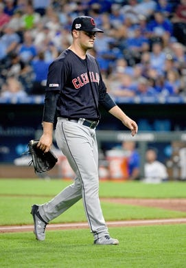Jul 25, 2019; Kansas City, MO, USA; Cleveland Indians starting pitcher Adam Plutko (45) walks to the dugout after being relieved in the sixth inning against the Kansas City Royals at Kauffman Stadium. Mandatory Credit: Denny Medley-USA TODAY Sports