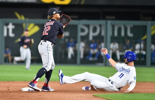 Jul 25, 2019; Kansas City, MO, USA; Cleveland Indians shortstop Francisco Lindor (12) forces out Kansas City Royals right fielder Bubba Starling (11) at second base and throws to first in the sixth inning at Kauffman Stadium. Mandatory Credit: Denny Medley-USA TODAY Sports