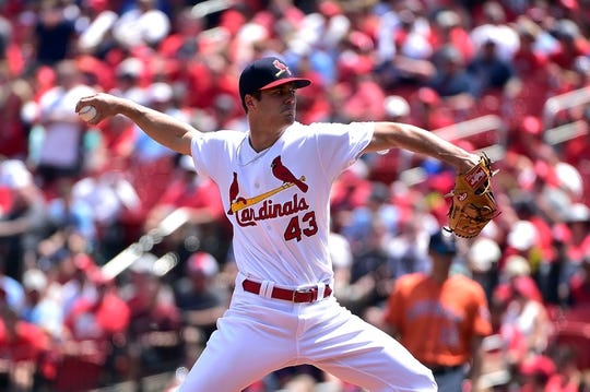 Jul 28, 2019; St. Louis, MO, USA; St. Louis Cardinals starting pitcher Dakota Hudson (43) pitches during the first inning against the Houston Astros at Busch Stadium. Mandatory Credit: Jeff Curry-USA TODAY Sports