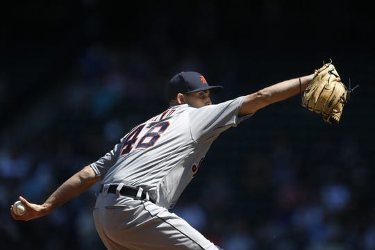 Jul 28, 2019; Seattle, WA, USA; Detroit Tigers starting pitcher Matthew Boyd (48) throws against the Seattle Mariners during the first inning at T-Mobile Park. Mandatory Credit: Joe Nicholson-USA TODAY Sports