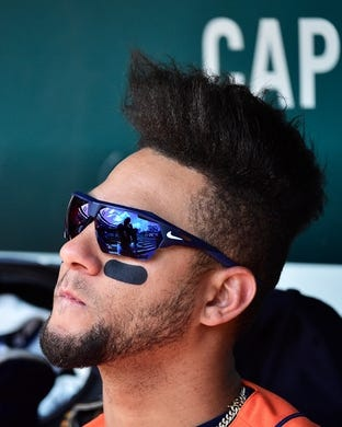Jul 28, 2019; St. Louis, MO, USA; Houston Astros center fielder George Springer (4) sits in the dugout prior to the start of a game against the St. Louis Cardinals at Busch Stadium. Mandatory Credit: Jeff Curry-USA TODAY Sports
