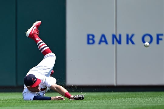 Jul 28, 2019; St. Louis, MO, USA; St. Louis Cardinals center fielder Harrison Bader (48) dives but is unable to catch a ball hit by Houston Astros left fielder Yordan Alvarez (not pictured) during the first inning at Busch Stadium. Mandatory Credit: Jeff Curry-USA TODAY Sports