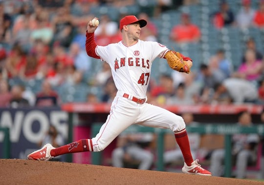 July 30, 2019; Anaheim, CA, USA; Los Angeles Angels starting pitcher Griffin Canning (47) throws against the Detroit Tigers during the first inning at Angel Stadium of Anaheim. Mandatory Credit: Gary A. Vasquez-USA TODAY Sports