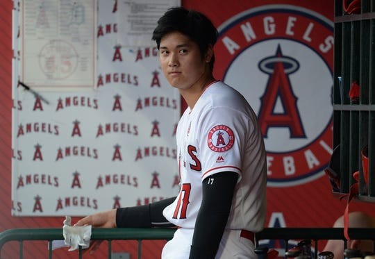 July 30, 2019; Anaheim, CA, USA; Los Angeles Angels designated hitter Shohei Ohtani (17) watches game action against the Detroit Tigers during the second inning at Angel Stadium of Anaheim. Mandatory Credit: Gary A. Vasquez-USA TODAY Sports