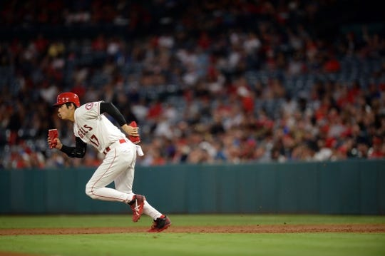 July 30, 2019; Anaheim, CA, USA; Los Angeles Angels designated hitter Shohei Ohtani (17) runs to steal second against the Detroit Tigers during the third inning at Angel Stadium of Anaheim. Mandatory Credit: Gary A. Vasquez-USA TODAY Sports