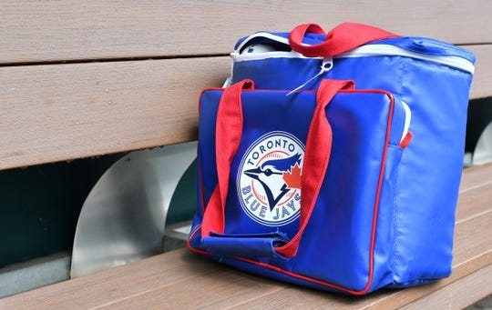 Jul 31, 2019; Kansas City, MO, USA; A general view of a Toronto Blue Jays ball bag in the dugout prior to the game against the Kansas City Royals at Kauffman Stadium. Mandatory Credit: Denny Medley-USA TODAY Sports