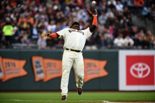 Aug 5, 2019; San Francisco, CA, USA; San Francisco Giants third baseman Pablo Sandoval (48) makes a catch against the Washington Nationals in the second inning at Oracle Park. Mandatory Credit: Cody Glenn-USA TODAY Sports