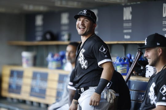 Aug 5, 2019; Detroit, MI, USA; Chicago White Sox second baseman Yolmer Sanchez (5) laughs in the dugout prior to the game against the Detroit Tigers at Comerica Park. Mandatory Credit: Raj Mehta-USA TODAY Sports