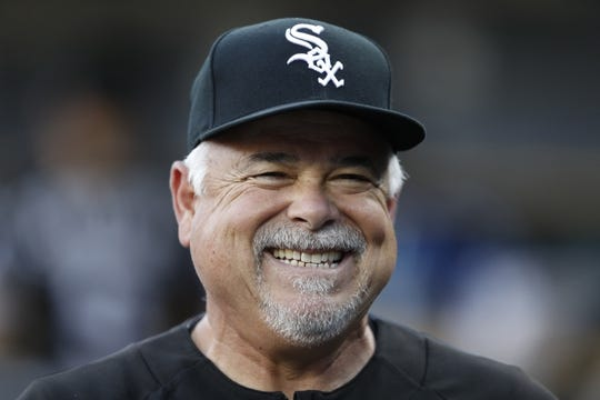 Aug 5, 2019; Detroit, MI, USA; Chicago White Sox manager Rick Renteria (36) smiles prior to the game against the Detroit Tigers at Comerica Park. Mandatory Credit: Raj Mehta-USA TODAY Sports
