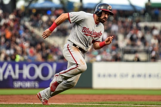 Aug 5, 2019; San Francisco, CA, USA; Washington Nationals outfielder Adam Eaton (2) rounds third base to score a run against the San Francisco Giants in the third inning at Oracle Park. Mandatory Credit: Cody Glenn-USA TODAY Sports