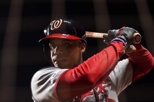 Aug 5, 2019; San Francisco, CA, USA; Washington Nationals left fielder Juan Soto (22) in the on deck circle before his at bat against the San Francisco Giants in the seventh inning at Oracle Park. Mandatory Credit: Cody Glenn-USA TODAY Sports
