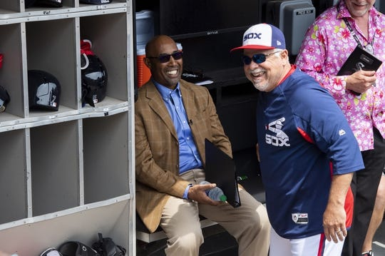 Aug 11, 2019; Chicago, IL, USA; Former Chicago White Sox player Harold Baines and manager Rick Renteria (36) are seen prior to a game against the Oakland Athletics at Guaranteed Rate Field. Mandatory Credit: Patrick Gorski-USA TODAY Sports