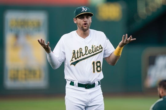 Aug 15, 2019; Oakland, CA, USA; Oakland Athletics left fielder Chad Pinder (18) reacts before a game against the Houston Astros at the Oakland Coliseum. Mandatory Credit: Stan Szeto-USA TODAY Sports