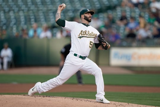 Aug 15, 2019; Oakland, CA, USA; Oakland Athletics starting pitcher Mike Fiers (50) pitches against the Houston Astros during the first inning at the Oakland Coliseum. Mandatory Credit: Stan Szeto-USA TODAY Sports