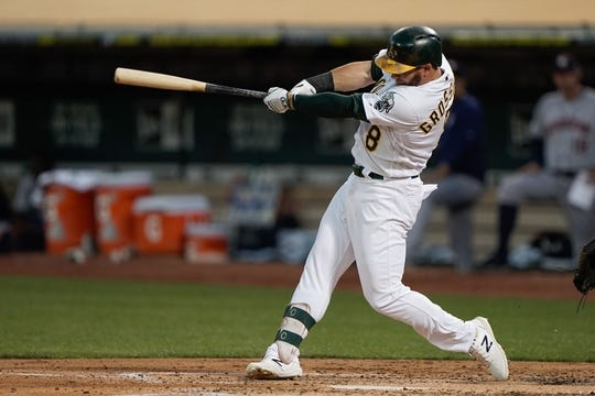 Aug 15, 2019; Oakland, CA, USA; Oakland Athletics left fielder Robbie Grossman (8) hits a double against the Houston Astros during the fourth inning at the Oakland Coliseum. Mandatory Credit: Stan Szeto-USA TODAY Sports
