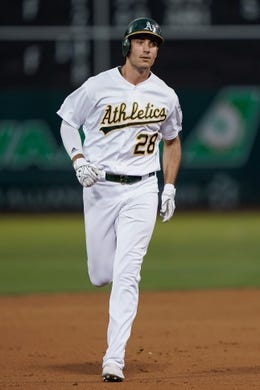 Aug 15, 2019; Oakland, CA, USA; Oakland Athletics first baseman Matt Olson (28) runs the bases after hitting a three run home run against the Houston Astros during the fourth inning at the Oakland Coliseum. Mandatory Credit: Stan Szeto-USA TODAY Sports