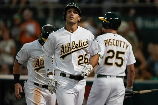Aug 15, 2019; Oakland, CA, USA; Oakland Athletics first baseman Matt Olson (28) reacts after hitting a three run home run against the Houston Astros during the fourth inning at the Oakland Coliseum. Mandatory Credit: Stan Szeto-USA TODAY Sports