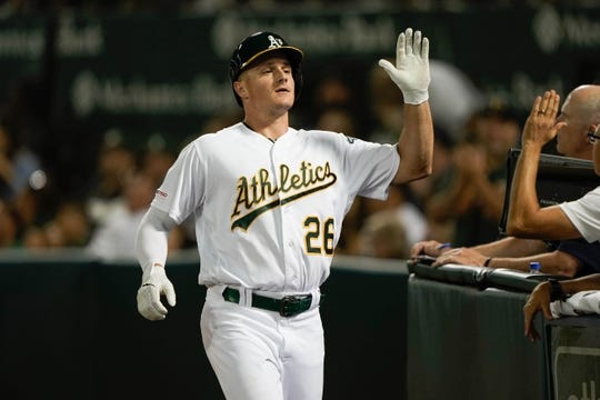 Aug 15, 2019; Oakland, CA, USA; Oakland Athletics third baseman Matt Chapman (26) celebrates with teammates after hitting a solo home run against the Houston Astros during the sixth inning at the Oakland Coliseum. Mandatory Credit: Stan Szeto-USA TODAY Sports
