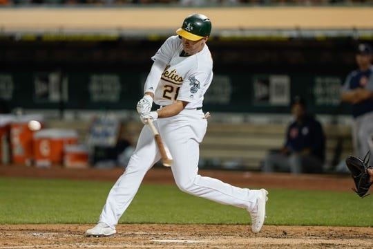 Aug 15, 2019; Oakland, CA, USA; Oakland Athletics first baseman Matt Olson (28) hits a solo home run against the Houston Astros during the sixth inning at the Oakland Coliseum. Mandatory Credit: Stan Szeto-USA TODAY Sports