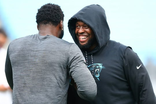 Aug 16, 2019; Charlotte, NC, USA; Carolina Panthers defensive tackle Gerald McCoy (93) shakes hands with defensive end Brian Burns (53) prior to the game against the Buffalo Bills at Bank of America Stadium. Mandatory Credit: Jeremy Brevard-USA TODAY Sports