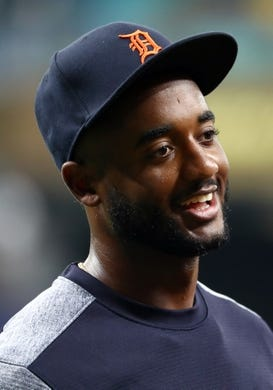 Aug 16, 2019; St. Petersburg, FL, USA;Detroit Tigers second baseman Niko Goodrum (28) works out prior to the game against the Tampa Bay Rays at Tropicana Field. Mandatory Credit: Kim Klement-USA TODAY Sports