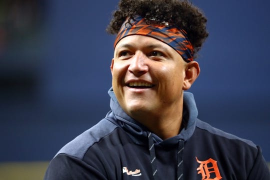 Aug 16, 2019; St. Petersburg, FL, USA; Detroit Tigers designated hitter Miguel Cabrera (24) works out prior to the game against the Tampa Bay Rays at Tropicana Field. Mandatory Credit: Kim Klement-USA TODAY Sports