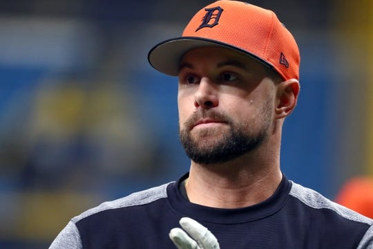 Aug 16, 2019; St. Petersburg, FL, USA; Detroit Tigers shortstop Jordy Mercer (7) works out prior to the game against the Tampa Bay Rays at Tropicana Field. Mandatory Credit: Kim Klement-USA TODAY Sports