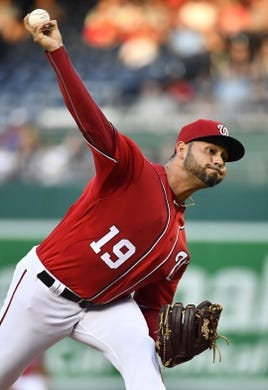 Aug 17, 2019; Washington, DC, USA; Washington Nationals starting pitcher Anibal Sanchez (19) throws against the Milwaukee Brewers during the first inning at Nationals Park. Mandatory Credit: Brad Mills-USA TODAY Sports