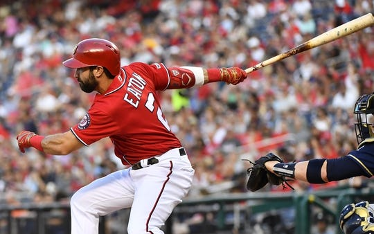 Aug 17, 2019; Washington, DC, USA; Washington Nationals right fielder Adam Eaton (2) hits a single against the Milwaukee Brewers during the first inning at Nationals Park. Mandatory Credit: Brad Mills-USA TODAY Sports